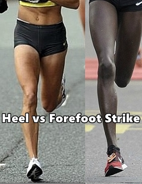 Differences between heel strike and forefoot strike running