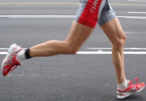 Wedged heeled running shoe cause a runner to heel strike