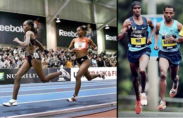 Dibaba, Bekele, Farah forefoot strike running