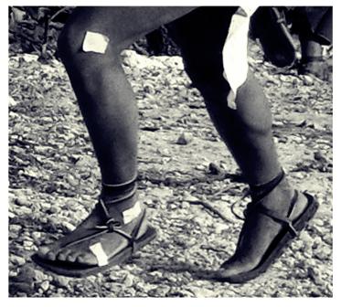Tarahumara Indians foot strike in sandals