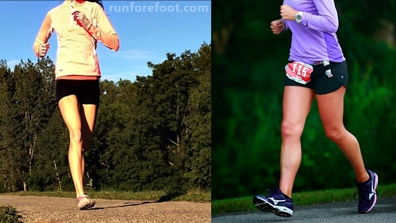 Thick heeled running shoes cause heel strike when running