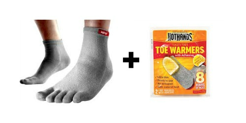 Prevent cold toes in the Vibram Five Fingers