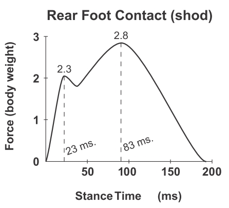 Two Impact Peaks in Heel Strike Running