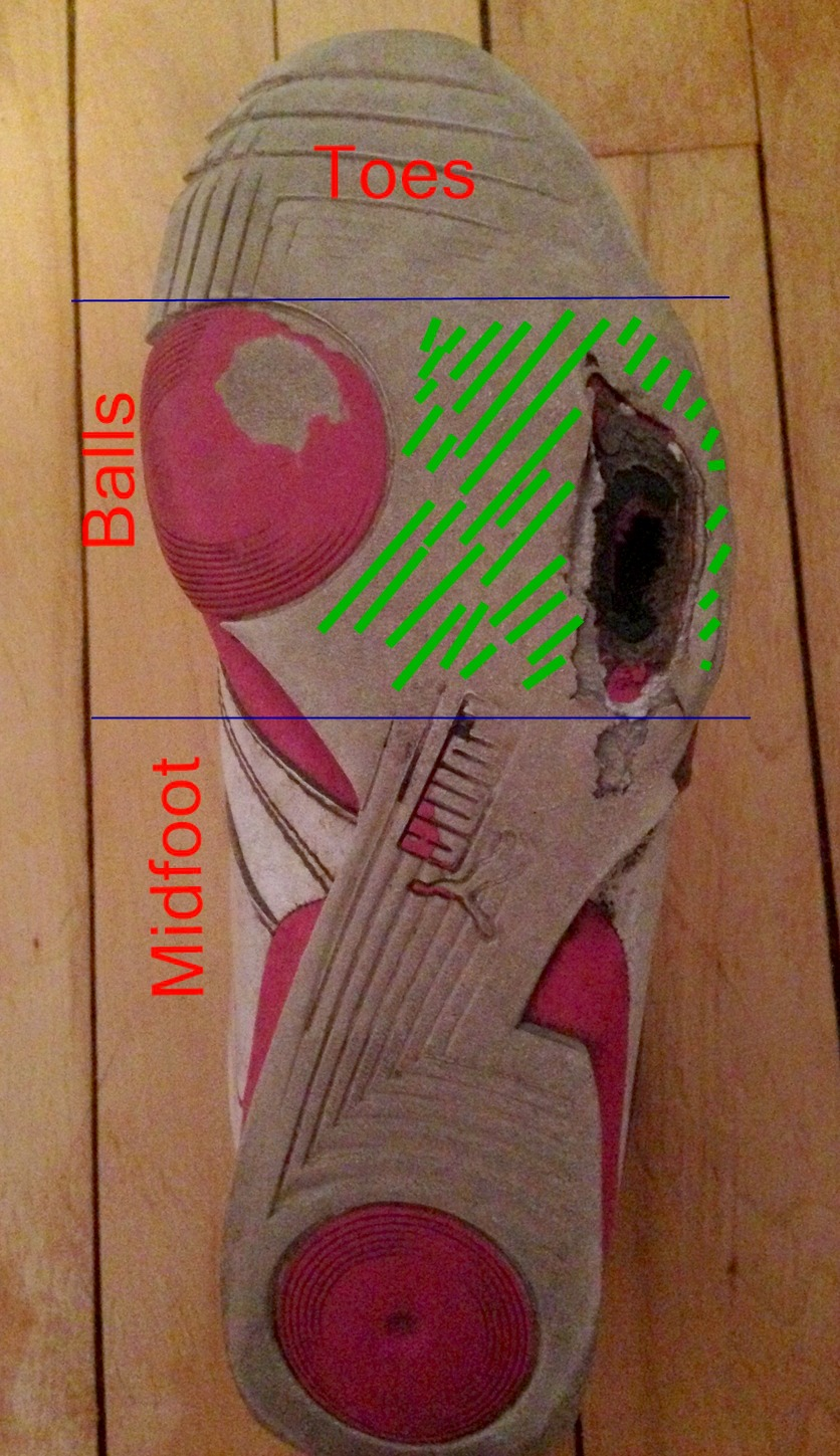 Running shoe wear patterns of a forefoot strike