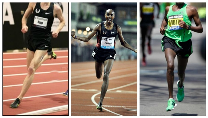Runners who forefoot strike: Galen Rupp, Farah, Mutai