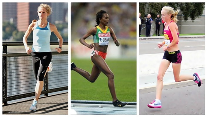 Elite distance runners who forefoot strike: Lisa Uhl, Tirunesh Dibaba,Kim Smith